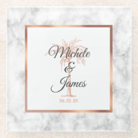 Charcoal Gray Rose Gold Palm Tree Marble Wedding Glass Coaster
