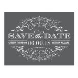 Charcoal Gray Save the Date | Swirl and Flourish Postcards