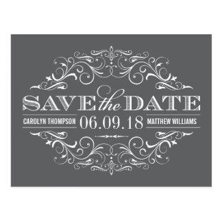 Charcoal Gray Save the Date | Swirl and Flourish Postcard