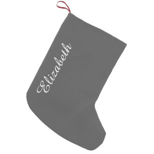 Charcoal Gray Solid Color Customize It Small Christmas Stocking