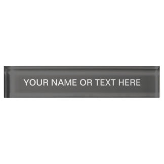 Charcoal Gray Solid Color Desk Name Plate