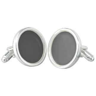 Charcoal Gray Solid Color Cufflinks