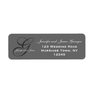 Charcoal Gray Swirl Initial G Wedding Custom Return Address Labels