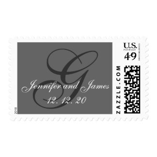Charcoal Gray Swirl Initial G Wedding Postage Stamp