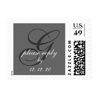 Charcoal Gray Swirl Initial G Wedding RSVP Postage Stamp