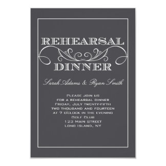 "Charcoal Gray Swirl Rehearsal Dinner Invitation 3.5"" X 5"" Invitation Card"