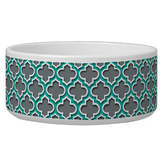Charcoal Gray Teal White Moroccan Quatrefoil #5DS Bowl
