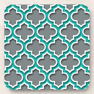Charcoal Gray Teal White Moroccan Quatrefoil #5DS Coaster