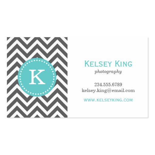 Charcoal Gray & Turquoise Chevron Custom Monogram Business Cards