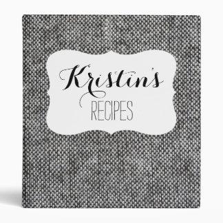 Charcoal Gray Tweed Fabric Texture Pattern Binder