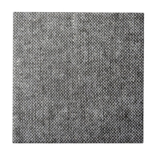 Charcoal Gray Tweed Fabric Texture Pattern Ceramic Tile