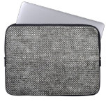 Charcoal Gray Tweed Fabric Texture Pattern Laptop Sleeves