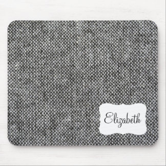 Charcoal Gray Tweed Fabric Texture Pattern Mouse Pad