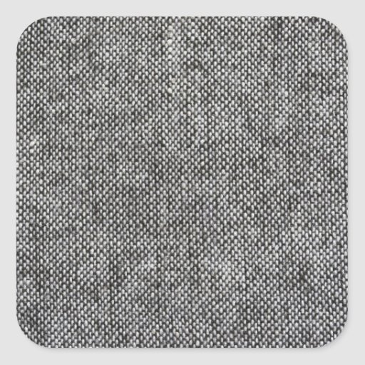 Charcoal Gray Tweed Fabric Texture Pattern Square Stickers