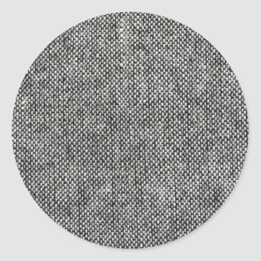 Charcoal Gray Tweed Fabric Texture Pattern Round Stickers
