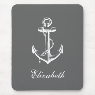 Charcoal Gray Vintage Anchor Custom Monogram Mouse Pads