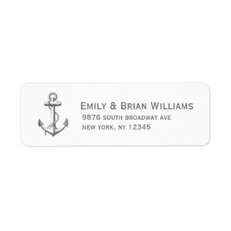 Charcoal Gray Vintage Anchor Illustration Custom Return Address Label