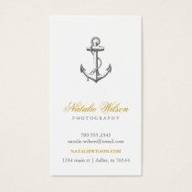 Charcoal Gray Vintage Anchor Vertical Business Card
