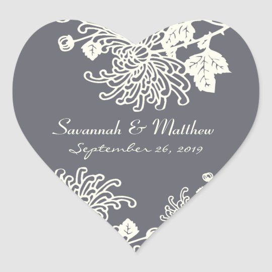 Charcoal Gray Vintage Flowers Wedding Heart Seal