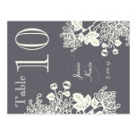 Charcoal Gray Vintage Flowers Wedding Table Number Post Card