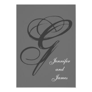 Charcoal Gray Wedding Invitation | Fancy Initial G