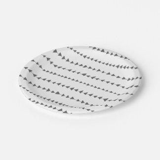 Charcoal Gray White Aztec Arrows Pattern Paper Plate