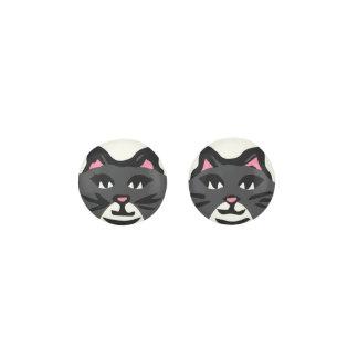 CHARCOAL GRAY & WHITE CAT, Pink Ears Black Whisker Earrings