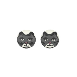 CHARCOAL GRAY & WHITE CAT With Black Whiskers Earrings