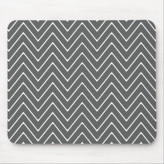 Charcoal Gray White Chevron Pattern 2A Mouse Pad