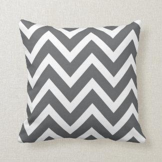 Charcoal Gray White Chevron Zigzag Stripes Pillow
