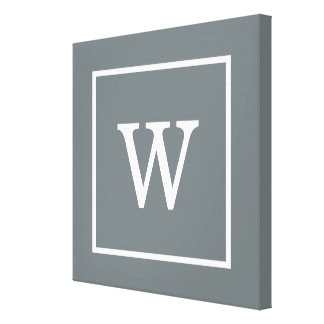 Charcoal Gray White Framed Initial Monogram Canvas Print
