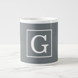 Charcoal Gray White Framed Initial Monogram Giant Coffee Mug