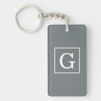 Charcoal Gray White Framed Initial Monogram Keychain