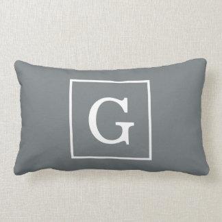Charcoal Gray White Framed Initial Monogram Lumbar Pillow