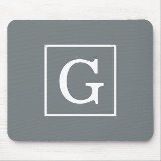 Charcoal Gray White Framed Initial Monogram Mouse Pad