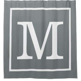 charcoal gray white framed xl initial monogram shower curtain