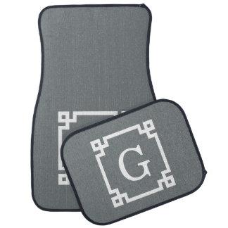 Charcoal Gray White Greek Key #2 Framed Monogram Car Floor Mat