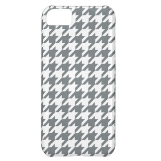 Charcoal Gray White Houndstooth Pattern #2 iPhone 5C Cases