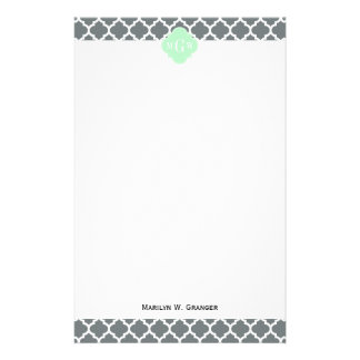 Charcoal Gray White Moroccan #5 Mint Name Monogram Stationery