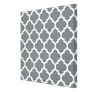 Charcoal Gray White Moroccan Quatrefoil Pattern #5 Canvas Print