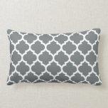 Charcoal Gray White Moroccan Quatrefoil Pattern #5 Pillow