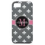Charcoal Gray White Pink Fleur de Lis Monogram iPhone 5 Cover