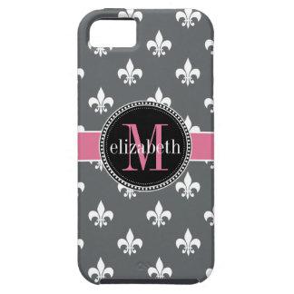 Charcoal Gray White Pink Fleur de Lis Monogram iPhone SE/5/5s Case