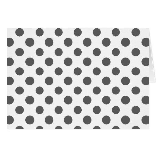 Charcoal Gray White Polka Dots Pattern Card