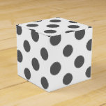 Charcoal Gray White Polka Dots Pattern Favor Box