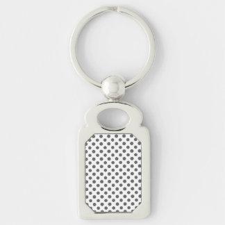 Charcoal Gray White Polka Dots Pattern Keychain