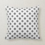 Charcoal Gray White Polka Dots Pattern Pillows