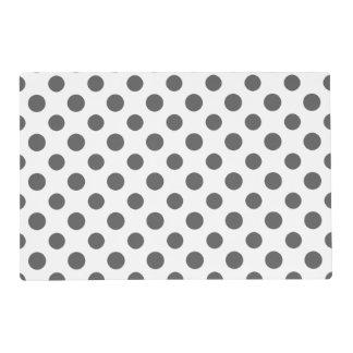 Charcoal Gray White Polka Dots Pattern Placemat