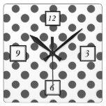Charcoal Gray White Polka Dots Pattern Wallclock