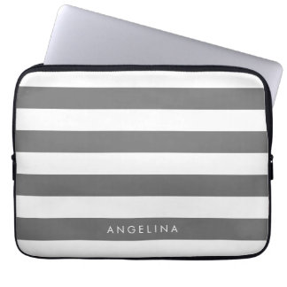 Charcoal Gray White Striped Pattern Custom Name Computer Sleeve